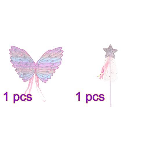 Amosfun Kinder Engel Flügel Feen Zauberstäbe Leistung Schmetterlingsflügel Fee Stick Set für Cosplay Party Girls - Fairy Girl Kostüm