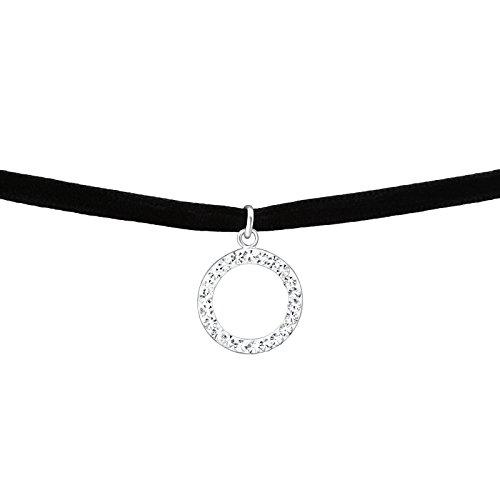 Schwarzen Kropf (Laimons Damen Choker-Halskette Ring Schwarz Glitzer Samt Sterling Silber 925)