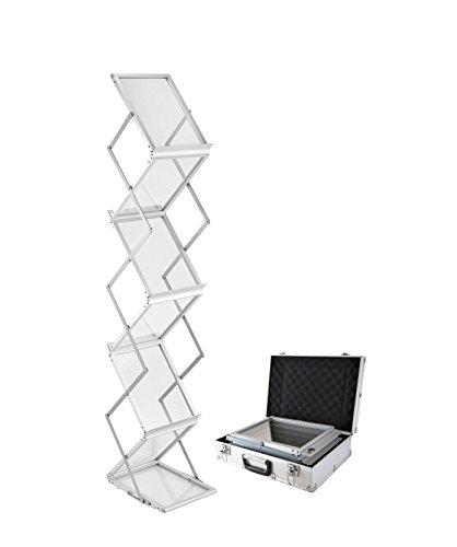 A4Broschüre Display Ständer, 6Taschen, tragbarer, faltbarer Literatur Katalog Halter Freistehend Pop-Up Magazin Halter Rack Ständer mit Aluminium, der Fall für Messe Büro