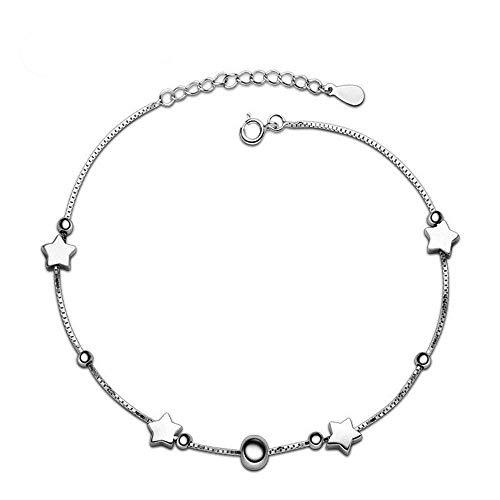 Tobillera de plata de ley 925, longitud 26 cm tobillera UWILD genuina 925 para envolver regalos mujeres