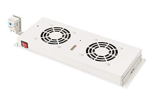 """DIGITUS Lüftereinheit für 19"""" Rack (1HE), oder Dachmontage in VarioFLEX Server- & Netzwerkschrank, 2x Lüfter, Thermostat, Grau (RAL 7035)"""