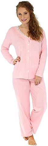 Sleepyheads Pyjama mit langen Ärmeln für damen zweiteiliger schlafanzug aus baumwolle mit knopfleiste (SHCJ1735-4016-LRG)