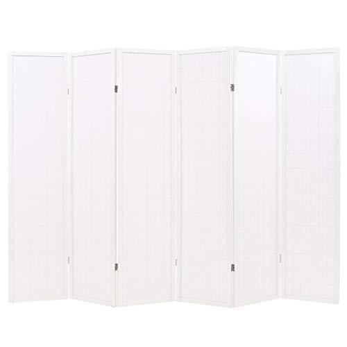 Vislone Plegable Biombos Diseño 6-Panel de Estilo Japonés Biombo Divisor Separador de Habitaciones Espacios Divisoria 120x170cm Blanco