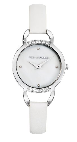 Ted Lapidus - A0636GAFF - Montre Femme - Quartz Analogique - Cadran Blanc - Bracelet Cuir Blanc