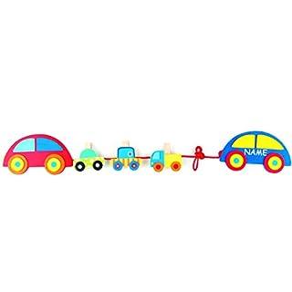 alles-meine.de GmbH Bilderkette / Fotokette aus Holz -  Bunte Autos  - incl. Name - mit 3 Klammern - zum Aufhängen - Fotoseil / Fotohalter / Bilderhalter - Deko für Kinder + Er..
