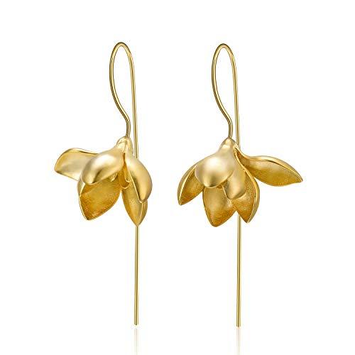 Lotus Fun S925 Sterling Silber Ohrringe Elegant Magnolie Blume Tropfen Ohrringe Kreativ Natürlicher Handgemachter Einzigartiger Schmuck für Frauen und Mädchen (Gold) Gold Magnolia