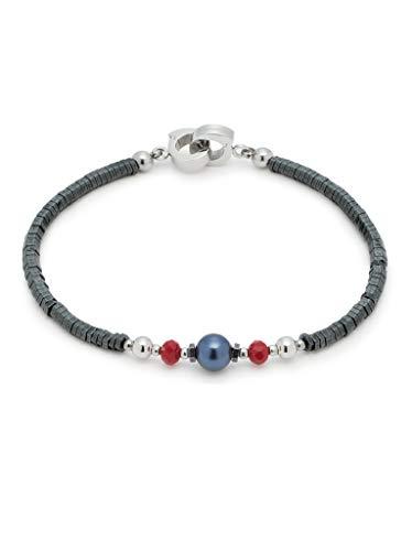 Jewels by Leonardo DARLIN'S Damen-Armband Generoso, Edelstahl mit 4 verschiedenen Perlen, mit Mini-Clip, Clip & Mix System, Länge 185 mm, 016686