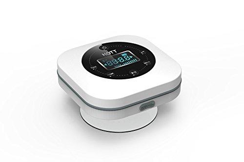 Wasserdichter Lautsprecher mit LCD-Bildschirm - VICTORSTAR Bluetooth Duschlautsprecher S603 + FM Radio + Eingebauter MIC + Leistungsfähiger Saugschale / 10 Std. Spielzeit, Freisprecheinrichtung für den Innen- und Außenbereich (Weiß)