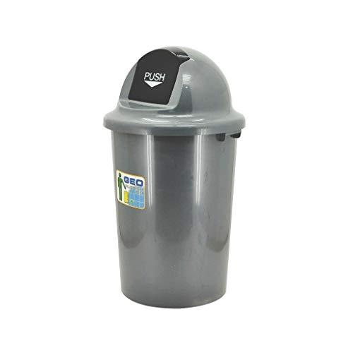 LSHWHT Cubos de Reciclaje Bote de Basura con Tapa de Resorte, Bote de Basura Redondo for el hogar Gris Bote de Basura Comercial for el hogar Bote de Basura de plástico HeWHui