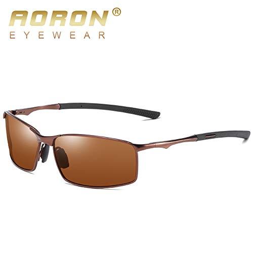 Aoron Herren Polarisierte Sonnenbrille für Sport, Outdoor-Sonnenbrille, Herren, Metallrahmen, Schwarz (Brown Frame Brown Lens), Einheitsgröße