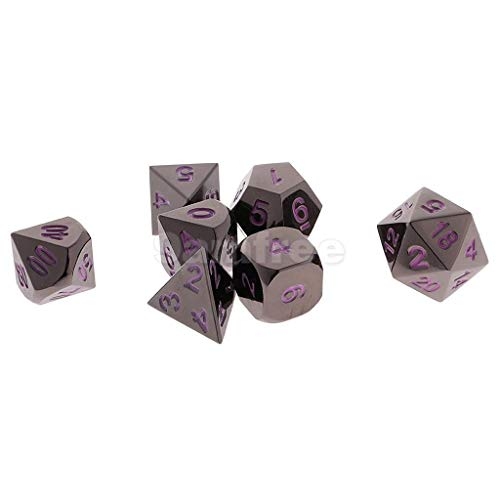 SUCAN 7 Pcs Zinklegierung Multisided Dice Set Rollenspiele DiceS Gadget With Bag - Lila (Dice Bag Pink)