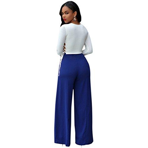 Femmes Sexy Crew Neck manches longues Cut Out haute taille pantalon large pantalon costume Bleu