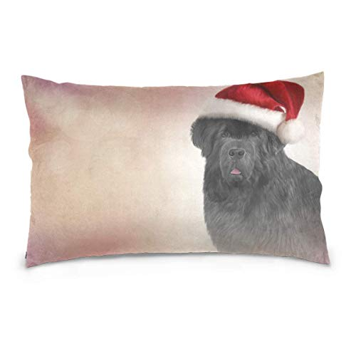 Dog with Santa Claus Hat Double-Sided Printed Oblong Pillowcase Throw Pillow Case Cover Cushion Case Zipper Home Decor for Couch Sofa Car No Pillow Insert (Claus Santa Suite)