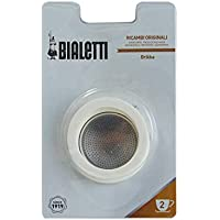 Bialetti 0800013Blister Packaging 3gaskets & Filter with 2Cups, Silicone, White, 6.5x 6.5x 0.3cm