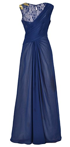 MACloth Women Chiffon Long Mother of the Bride Dress Formal Evening Party Gown Dunkelmarine