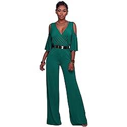 Dooxi Femmes Manche Longue Partie de Soirée Combinaisons Jumpsuit Col V Taille Haute Large Jambe Combinaison Pantalon Vert XL