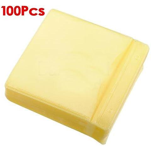 Sonline 100x CD DVD DISCO Color de la cubierta de almacenamiento caja de la manga de plastico Monedero Packs 100 Micron