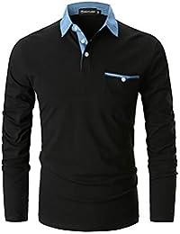 GHYUGR Polo para Hombre Mangas Largas Denim Costura Camisas Algodón Slim  Fit Camiseta Golf Poloshirt T 396c449bcf371