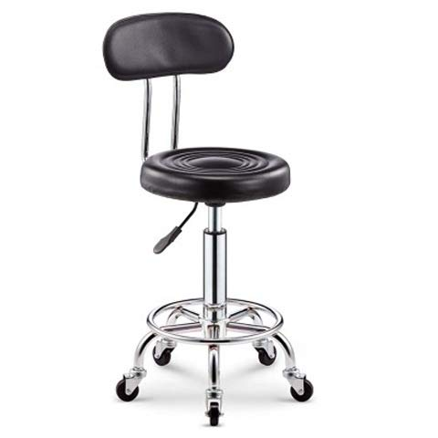 Chair   High Stool Lift Chair   Cashier Chair Bar Stool Round Stool   Hairdressing Beauty Chair Nail Makeup Chair Black Back Iron Wheel ()