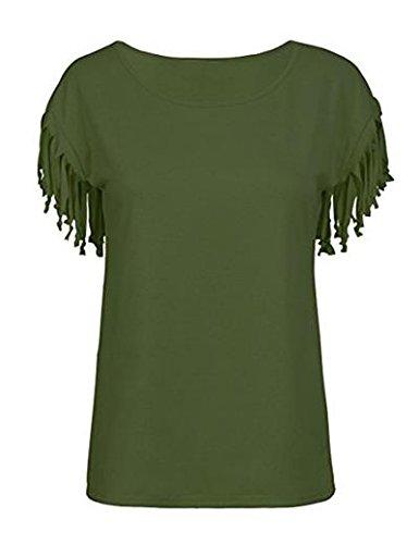Las Mujeres Verano Casual Cuello Redondo Manga Corta con Flecos Sueltos T Shirt Top tee, Plus Size Green XXL