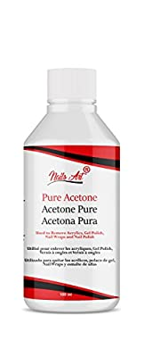 NailArt® Pure Acetone Nail Polish Remover for Artificial Nails, Nail Glue, Nail Tips, Acrylics, Fiberglass, Wraps and Sculptures UV/LED GEL soak-off Dissolver 100ml