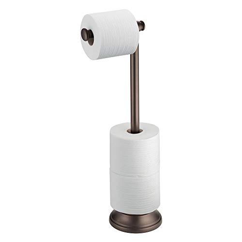 iDesign 93380EU Kent Badaccessoires, Freistehende Toilettenpapierhalter Plus, bronze