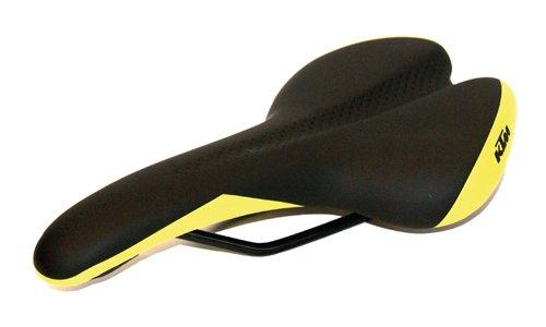 BISOMO® KTM Fahrrad MTB Sattel - Inklusive Kloben - Schwarz Neon Grün - Arc Tech Suspension - T-Bar - Zone Cut (8-058)
