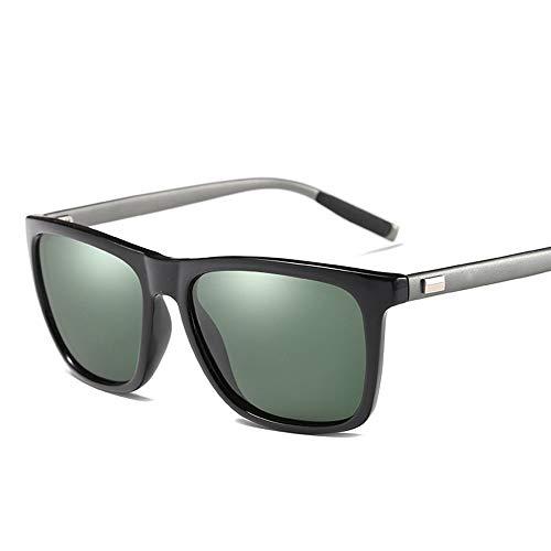 FORTINGBAR Neue Suqare Fashion Sonnenbrille Polarisierte Linse, Al-Mg Tempel for Männer/Frauen (Farbe : Black Frame/Dark Green)