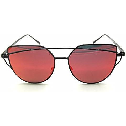 RetroUV® Del Progettista di Marca di Modo delle Donne Cat Eye Sunglasses Classic Twin-Beams Occhiali da Sole Lady Rivestimento a Specchio Piatto Lens Occhiali