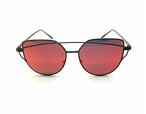 Retrouv Polarisierte Katzenaugen Sonnenbrille Für Damen UV400 reflektierenden Spiegel (Nero Telaio / Rosso Lente)