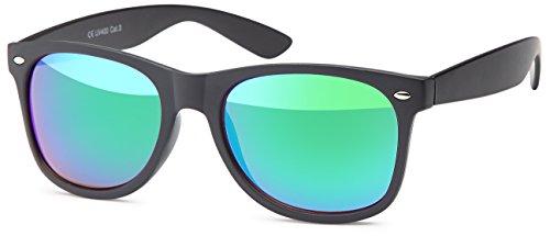 Feinzwirn Sonnenbrille mit verspiegelten polarisierten Gläsern + Hardcase (schwarz-grün verspiegelt)