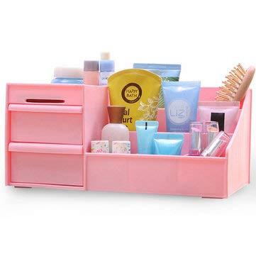 DyNamic Kunststoff Desktop Organizer Makeup Organizer Kosmetische Aufbewahrungsbox Schreibwaren Halter Hauptdekorationen - Rosa