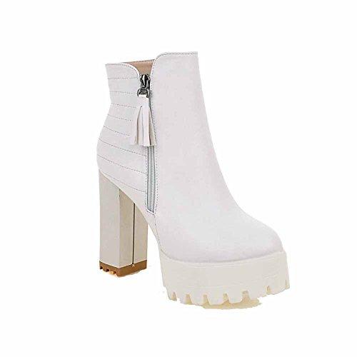VogueZone009 Damen PU Leder Überknie Hohe Stiefel Rein Ziehen auf Hoher Absatz Stiefel, Weiß, 34