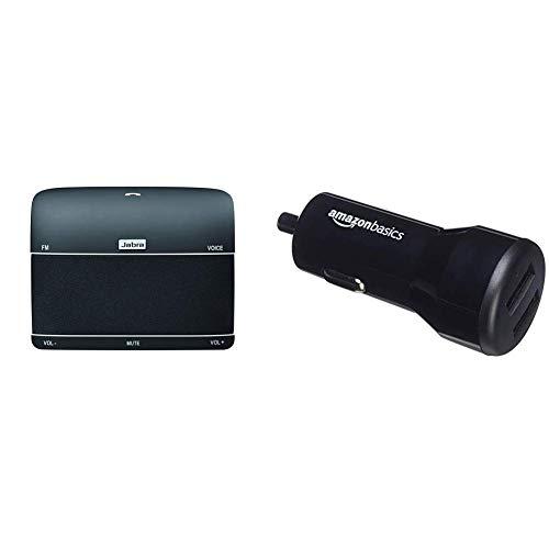 Jabra Freeway Bluetooth KFZ Freisprecheinrichtung schwarz & AmazonBasics - Kfz-Ladegerät für Apple- & Android-Geräte, USB-Anschluss: 2 Eingänge, 4,8Ampere / 24W, Schwarz - Supertooth-kfz-kit