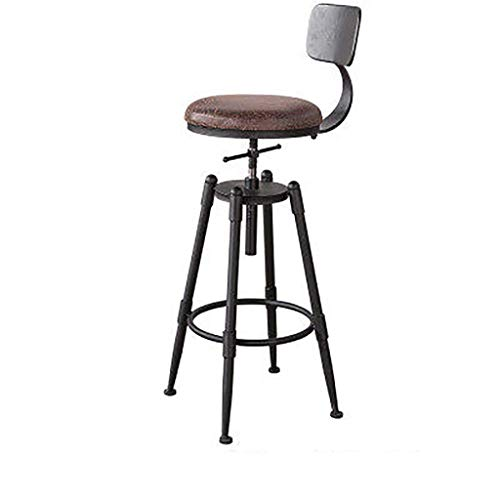Silla de bar elevador taburete de madera maciza café giratorio taburetes altos casa barra silla cocina taburete de desayuno altura regulable con 4 patas de hierro cojín de cuero suave con respaldo