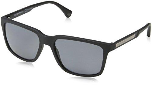 Emporio Armani Unisex Sonnenbrille EA4047, Schwarz (Black Rubber, Medium (Herstellergröße: 56)