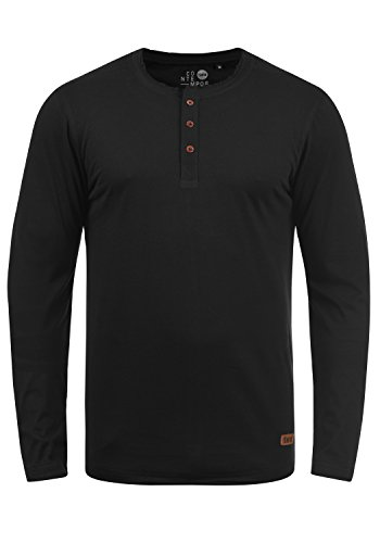 !Solid Taoki Herren Longsleeve Langarmshirt mit Grandad-Kragen aus hochwertiger Baumwollmischung, Größe:XL, Farbe:Black (9000)
