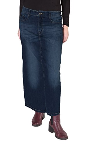 Gonna di jeans lunga - Lavato scuro gonna denim stretch gonna jeans delle donne
