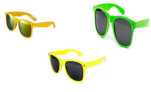 Preisvergleich Produktbild 3 er Set Sonnenbrille Nerdbrille Nerd Atzen Brille Gelb Neon Gelb Grün D850