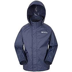 Mountain Warehouse Veste imperméable Pakka pour Enfant - Veste Respirante, Hydrofuge et résistante au Vent, avec 2 Poches - Idéale pour randonnée et Marche Bleu Foncé 3-4 Ans