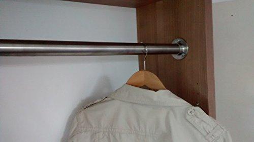 110 cm Premium Edelstahl Kleiderstange – Edelstahl V2A D 33,7 mm – hochwertige Oberfläche – Set für Garderobe Kleiderschrank oder Nische LIVINDO - 3