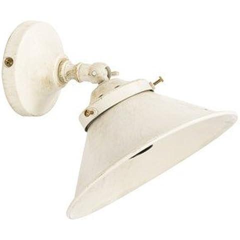 Aplique de pared latón, acabado pulido campana Cono lacado, color blanco