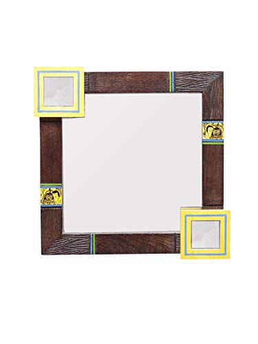 VarEesha Yellow Squares 13 Inch Square Wooden Mirror