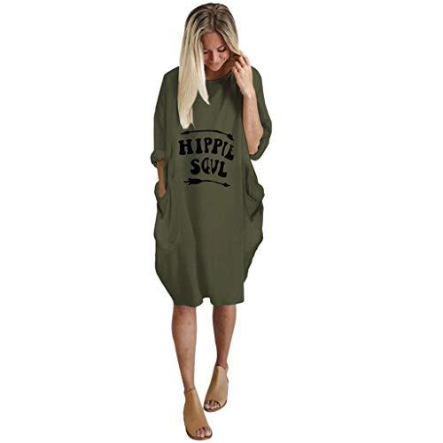 VEMOW Damenmode Tasche Lose Kleid Damen Rundhalsausschnitt beiläufige Tägliche Lange Tops Kleid Plus Größe(A-Grün, EU-46/CN-L)