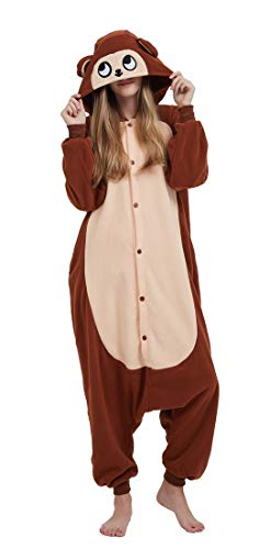 SAMGU Adult Pyjama Cosplay Tier Onesie Body Nachtwäsche Kleid Overall Animal Sleepwear Erwachsene AFFE XL