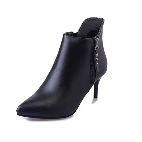 scarpe a punta in autunno e inverno/ tacco a spillo scarpe da donna/Con la moda cerniera breve stivali-A Lunghezza piede=23.3CM(9.2Inch)