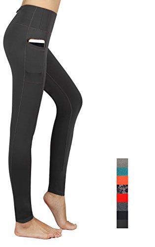 Munvot Schön Galaxy Printed Sport Leggings Damen Blickdichte Leggins Training Tights Hohe Taille Strumpfhose Bunt Leggins für damen mit Tasche, Meliert dunkelgrau, Gr. M