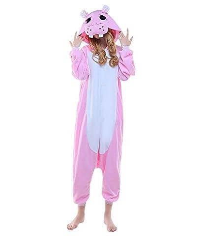 Fandecie Pyjama Tier Onesies mit Kapuze Erwachsene Unisex Cospaly Schlafanzug Halloween Kostüm Pink Nilpferd Geeignet für Hohe