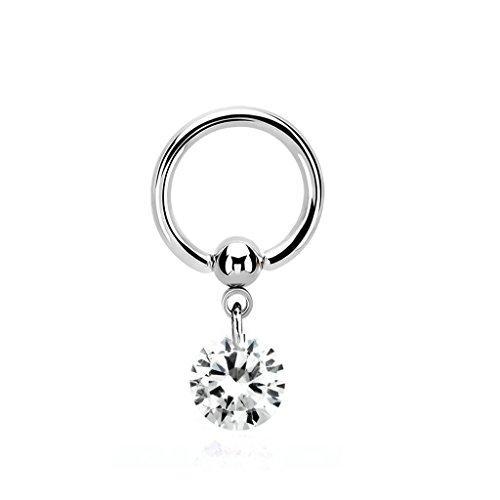 1,6mm Intimpiercing Ring mit runden kristall Anhänger - Piercing Ring 1,6x10mm Intimpiercing Schmuck
