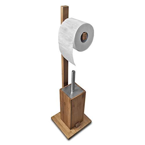 SANWOOD Kombi Bambus, Edelstahl-Natur-Mit Rollenhalter WC-Bürstengarnitur mit Papierrollenhalter, braun 19 x 71 x 19 cm